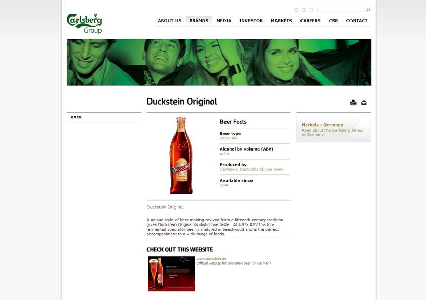Buda Crlsberg'in sitesindeki markalarımız bölümü